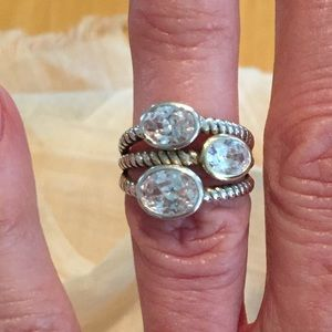 925 Sterling Silver & Crystal Ring Sz 6